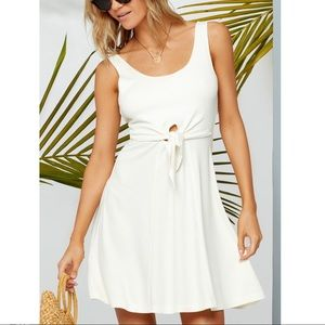 L*Space Topanga Tie Front Ribbed Mini Dress Ivory